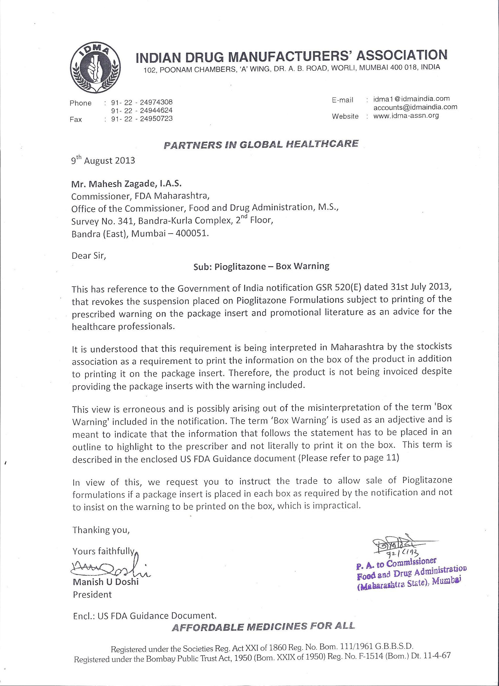 Actos Warning Letter
